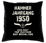 Geschenk 68 Geburtstag Geschenkidee Deko Kissen und Urkunde Jahrgang 1950 Farbe: schwarz