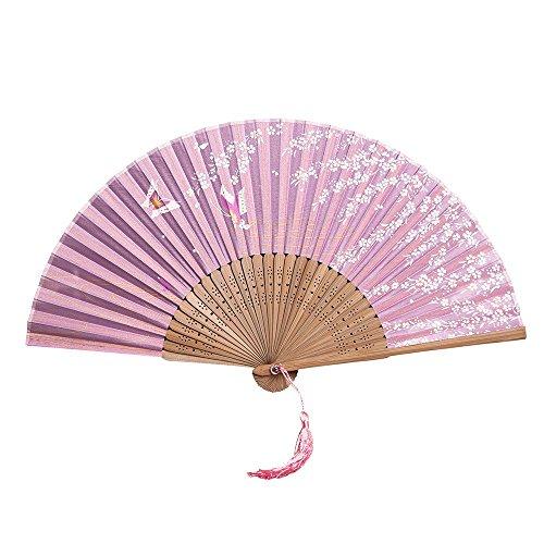 YEARNLY Damen Handfächer, Folding Bambus Fans Hand Halten Fans chinesischer Seiden Handfächer für Wanddekoration, Geschenke, Hochzeitsfeie