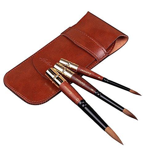 Fuumuui High-End-professionelle Art Reise Pinsel Import Sable Haar Runde wies Kurze Griff Pinsel für Acryl Öl und Aquarell malerei mit Pocket Größe Geschenk-Paket -