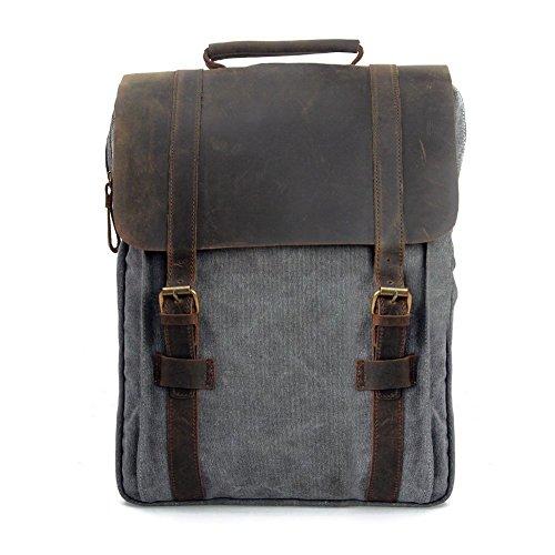 P.ku.vdsl® vintage tela zaino esterni viaggi zaino scuola borsa a tracolla zaino in pelle tela vera pelle fit ipad e 15