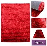 Fabelia Hochflor Shaggy Teppich Gentle Luxus - Läufer in Trendfarben (Rot/Scharlachrot, 80x150cm)
