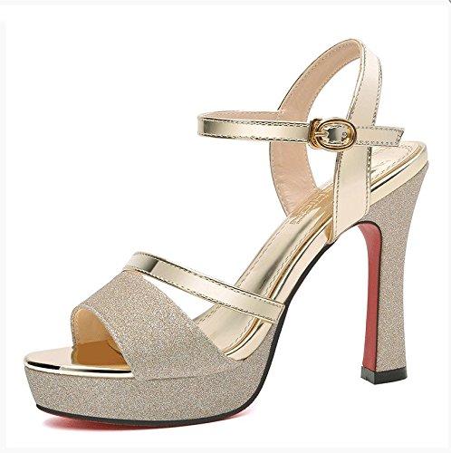 Estate moda donna sandali comodi tacchi alti,36 giallo Gold