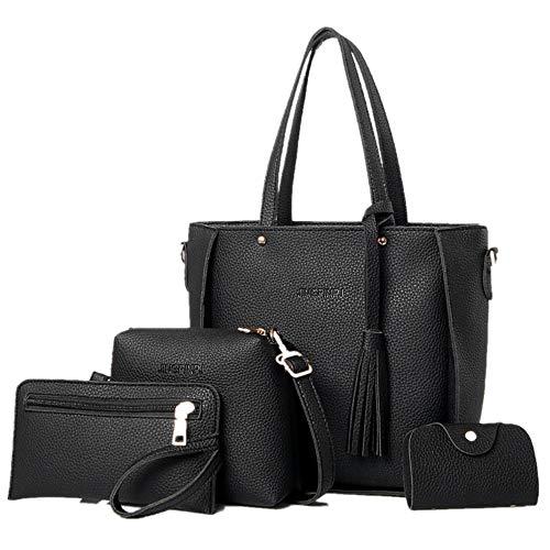 ROLICIA mode damen pu-leder handtasche umhängetasche schultertasche einkaufstasche karte geldbörse 3 stück set [schwarz]