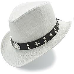 DIMDIM mychome Strand Sonnenhut Stroh West-Sombrero cowboyhüte Dad Strand Sonnenhut für Damen/Herren, weiß, 58 cm