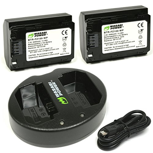 Wasabi Power Batterie (2-Pack) und Dual-USB-Ladegerät für Sony NP-FZ100, BC-QZ1 und Sony a9, a7R III, a7 III