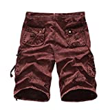ZIYOU Freizeithose Herren Männer Outdoor Cargohose Sweatpants Casual Kurz Arbeitshose Shorts(Rot,38)