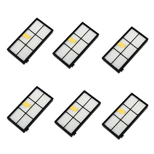 Fulltime® 6 Stück Ersatz Hepa Filter für iRobot Roomba 800 870 880 Serie Staubsauger Ersatzteil Kit