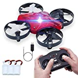 ONIPU Kids Toys Mini Drone, RC Quadcopter Flying Toys 2.4GHZ 4CH 6Axis Altitude Hold 3D Flips Headless Mode with LED Lights Gifts Cool Gadgets for Boys Girls Teenagers Adults (Red)
