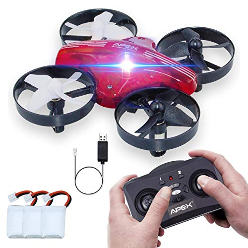Mini Drohne, ONIPU RC Fliegen Spielzeug Fernbedienung Quadcopter 2.4GHZ 4CH 6 Achsen 3D Flips Headless Modus mit LED-Leuchten Gadgets Geschenke Indoor Outdoor Spielzeug für Kinder Jungen Mädchen (Rot)