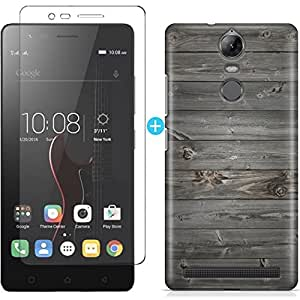 CASE U™ [COMBO] Grey Wood Designer Premium Printed PolyCarbonate Hard Case Back Cover for Lenovo K5 Note + Free Full Coverage Edge-to-Edge Tempered Glass