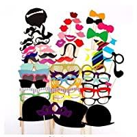 LANYUER 58PCS Colorful Props On A Stick Mustache Photo Booth Party Fun Wedding Christmas Birthday Favor