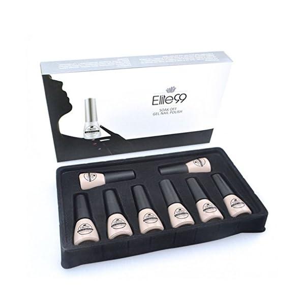 Elite99 Kit Uñas de Gel Esmalte Semipermanente 8pcs Colore Gel Coat Shellac Laca Soak Off Top Coat Base Coat UV LED…