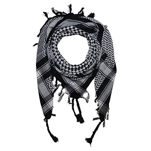 Superfreak® Palituch mit Karo-Muster klein°PLO Schal kariert°100x100 cm°Pali Palästinenser Arafat Tuch°100% Baumwolle, Farbe: schwarz/weiß