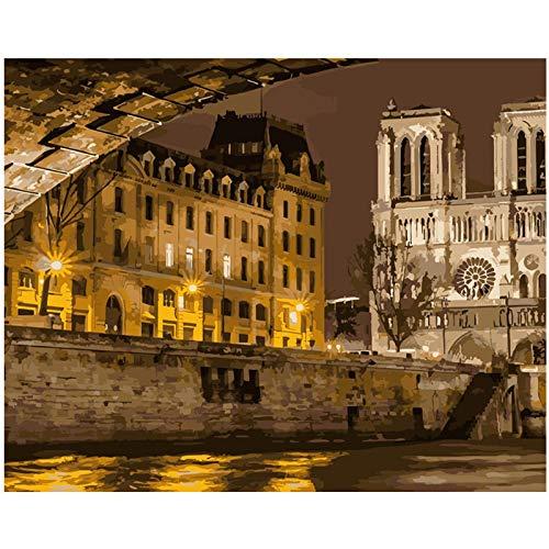 FULLLUCKY Malen Nach Zahlen DIY Paris Unter Der Nacht Landschaft Leinwand Hochzeit Dekoration Kunst Bild Geschenk (Nacht In Paris-dekorationen)