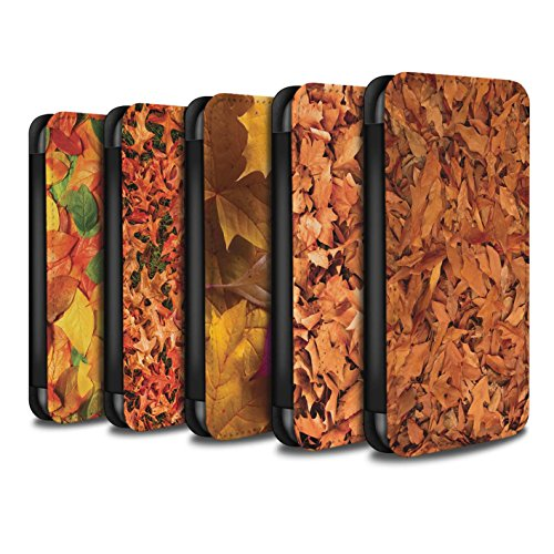 Stuff4 Coque/Etui/Housse Cuir PU Case/Cover pour Apple iPhone X/10 / Mixte/Violet Design / Feuilles Automne Collection Pack 5pcs