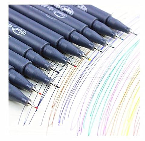 Ligne Dessin trait de crayon Stylo Fibre stylo-feutre Lot de–10couleurs aquarelle Brosse Stylo Marqueur à base d'eau pour croquis et peintures de peinture, Multi couleurs Brosse Lot de stylos Vermischbare Flexible véritable Poils