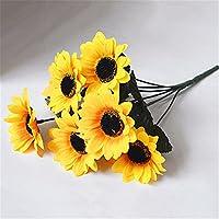 Nuohuilekeji 1 Bouquet 7 Heads Artificial Sunflower Faux Silk Flowers Home Wedding Decor