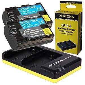 Dual Chargeur PATONA + 2x Batterie pour Premium Canon LP-E6 EOS 70D 60D 60Da 7D Mark II 6D 5DS 5D R 5D Mark II III