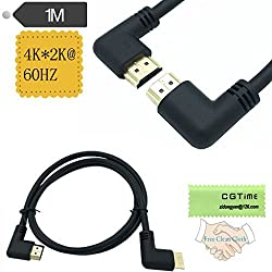 CGTime 3.3 Feet HDMI Left to Right Angle 90 Degree Vertical Right Cable -Supports 4K60Hz, High Speed, HDMI 2.0 Ready - UHD, Ethernet & Audio Return - Video 4K 2160p, HD 1080p, 3D .(Male-Male)