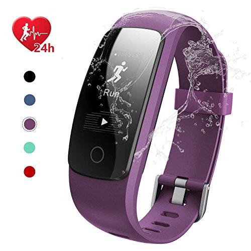 EFOSHM Fitness Tracker; Smart Watch Wasserdicht IP67Touch Bildschirm Activity Tracker mit Herzfrequenz Monitor Kalorien Zähler Schrittzähler Smart Armband Android & iOS Smartphone, violett