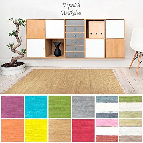 Handweb Flicken-Teppich aus Baumwolle   Geflochtene Indische Fleckerl Kelim Teppiche fürs Wohnzimmer, Küche, Schlafzimmer, Bad oder Flur Läufer  Einfarbig Bunt (Natur, 160 x 230 cm)