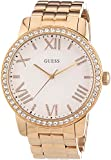 GUESS Women's Quartz Watch with White Dial Analogue Display and Rose Gold Stainless Steel Bracelet W0329L3