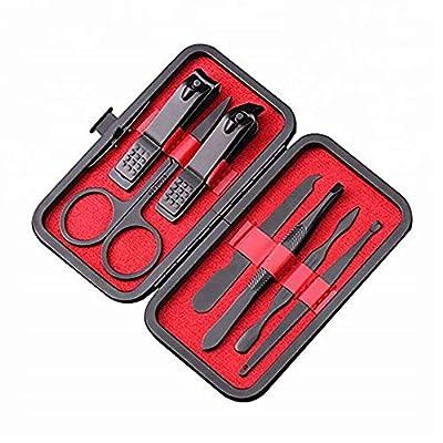 Benrise 7 Pcs/set Black Nail Clipper Cutter Trimmer Ear Pick Grooming Kit Manicure Set Pedicure Toe Nail Art Tools Set Kits by Benrise