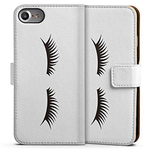 Apple iPhone 7 Plus Silikon Hülle Case Schutzhülle Lashes Wimpern ohne Hintergrund Sideflip Tasche weiß