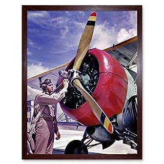 Wee Blue Coo LTD Vintage Photography Propellor Aeroplane Pilot Airman USA Art Print Framed Poster Wall Decor Kunstdruck Poster Wand-Dekor-12X16 Zoll
