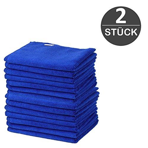 Microfasertücher Blau 2 Stück 30 x 30 cm besonders weiche und saugstarke Reinigungstücher aus 100% Microfaser für Auto, Haushalt, Garage, Glas, Display von wortek