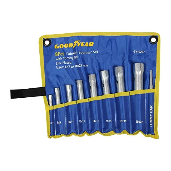 Goodyear Metal Tubular Spanner Set with Tommy Bar (Silver, 9-Pieces)