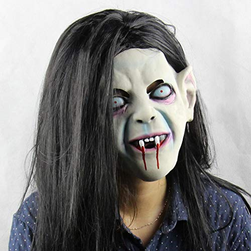 lloween Horror Ghost Maske Tricks Requisiten Black Ghost Fluch Atemberaubendes Headgear Ghost Festival Liefert Latex Ca. 200G Erwachsenen Code, Wig Länge Ca. 43Cm, Beige ()