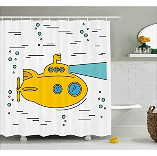 Duschvorhänge Für Mädchen Blase Guppies Duschvorhang Horizontale Streifen Cartoon Unterwasser Mit Blasen Bad,220X200Cm ()