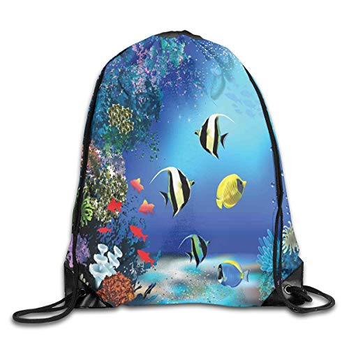 HLKPE Drawstring Backpacks Bags Daypacks,Tropical Undersea with Colorful Fishes Swimming In The Ocean Coral Reefs Artsy Image,5 Liter Capacity Adjustable for Sport Gym Traveling Reef Snake