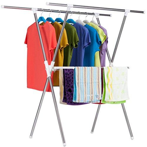 Sharon Faltende Art X-doppelter Pole Kleiderstange, einziehbarer stehender Kleiderbügel, mehrschichtiger Handtuchhalter, L80-160 Cm-H128 cm * W80 cm, (Edelstahl) (Handtuchhalter Stehender Doppelter)