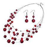 Jerollin Damen Perlenkette Bead Bib Choker Halskette Statement Kette Ohrhänger Modeschmuck Anhänger Halsreif Collier Trachtenkette Ohrringen Schmuck Set