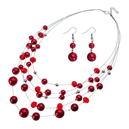 Jerollin Damen Perlenkette Bead Bib Choker Halskette Statement Kette Ohrhänger Modeschmuck Anhänger Halsreif Collier Trachtenkette Ohrringen Schmuck (Ohrringe Kette Disco Gold)