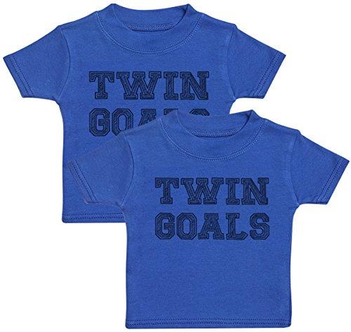 Baby Bunny Twin Goals Camiseta para Gemelos bebé niña, Camiseta para Gemelos bebé niño, Regalo para Gemelos niño - 1-2 años Azul