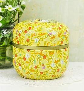Récipient à thé de thé Fer blanc de boîte de stockage de boîte de stockage de bidon de thé de cadeau de double couvercle portatif (jaune) de Huyizhi