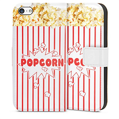 Tasche kompatibel mit Apple iPhone 5c Leder Flip Case Ledertasche Popcorn Kino Design - Case-kino 5c Iphone