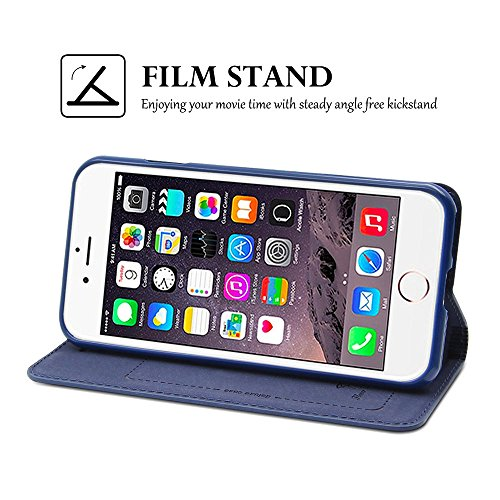 iPhone 7Fall, Belk Vintage Buch-Stil Ultra Slim Flip Folio Brieftasche Fall mit Kreditkarte & Soft TPU Bumper Fall Embedded Magnetverschluss Pure handgefertigt Cover für iPhone 7(11,9cm) blau