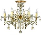 Französischer Kronleuchter Kerzen im Antik-Stil, klare Kristalltropfen, goldenes Metall, 6-flammig 6xE14 60W