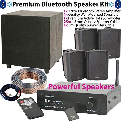 Premium Bluetooth Verstärker und Lautsprecher System–170W Mini/Compact Wireless Home Audio Lautsprecher, Hi-Fi AMP, 4x 90W Wand montiert Satellite Lautsprecher & 200W Active Sub/Subwoofer-Kit–Leistungsstark Stereo