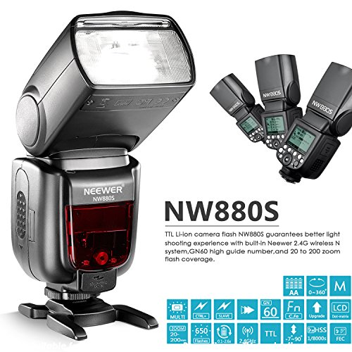 Neewer-24G-Wireless-18000-HSS-TTL-LCD-Display-Master-Slave-Flash-Speedlite-per-Fotocamere-Sony-A77II-A7RII-A7R-A58-A99-A6000-con-Nuovo-Piedino-Hotshoe-Mi-NW880S