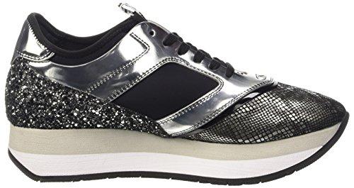 Bikkembergs Winn-er 635 Low Shoe W Leather/Metal/Glitter, Pompes à plateforme plate femme Gris - Grigio (Grey/Silver)