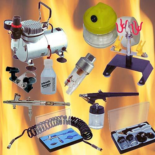 OCS.tec 9 Teile Set Airbrush Kompressor AIRBRUSHPISTOLE POD Reiniger Starter-Set AS1 -