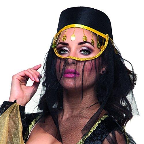Orientalische Kopfbedeckung Fes mit Gesichtsschleier schwarz Hut mit Schleier 1001 Nacht Kostümzubehör