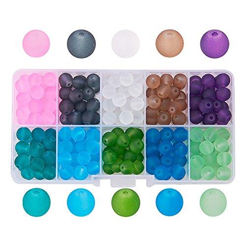 Stück 8mm Glas-Perlen rund bunt für Modeschmuck, gemischte Farben, Bohrung:1,3-1,6mm, ca. 250 Stück/Box. 8mm Colore Misto#3 ()
