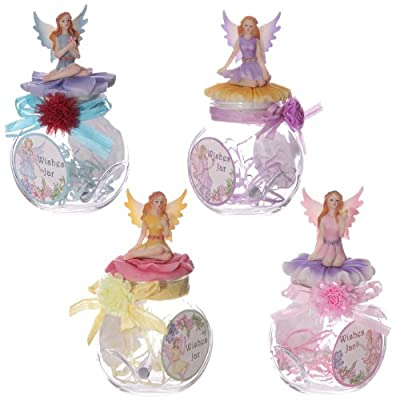 Round Fairy Wishes Jar with Fairy on Lid
