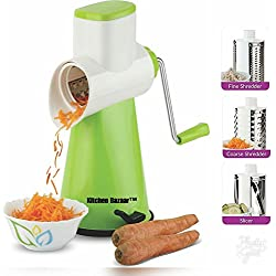 Kitchen Bazaar Premium Drum Grater Shredder Slicer for Vegetables,Fruits,Chocolates,Dry-Fruits ,Pasta Salad Maker with 3 Stainless Steel Blades, Green
